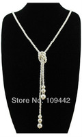 Free Shipping Fashion Glitter Joker Crystal Pearl Necklace Long Sweater Accessories Necklace GN150