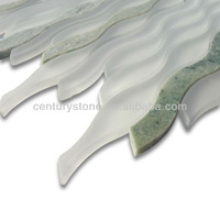 Glass Mosaic Ice white wave mixed stone mosaic tile