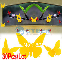 Wholesale 30Pcs/Lot 3D Butterfly Wall Sticker Home Decor Room Decorations Stickers Yellw 4705 4706 4707 B_141
