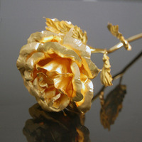 Lover's gift Gold Rose with gift box,Dipped in 24K Gold, bud and bloom can select,16*5*3cm Christmas gift
