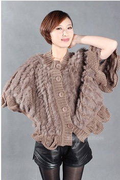 QD27887 Women's Fur Poncho 100% Genuine Natural Knitted Rabbit Fur Pullovers Autumn Sweater Shawls Lady Wraps Butterfly Sleeve