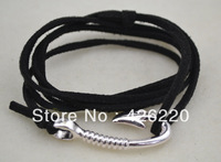 free shipping 5pcs a lot high quality black cord fishhook bracelet  jewelry