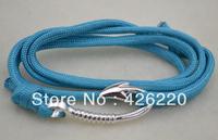 free shipping 5pcs a lot high quality blue paracord fishhook bracelet jewelry