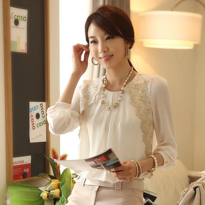 SALE Korean Elegant Office Style Ladies White Lace Long Sleeve Chiffon  Shirts For Women New 2015 Spring Autumn Fashion Tops 1042 f34fa2208