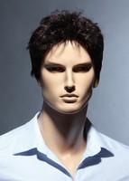 Male Glamorous Charming Fashion Brown Curly 100% Kanekalon Fiber Synthetic men Wig H9100Z Eshow