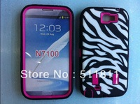 Hybrid impact shockproof protective defender Zebra case for Samsung Galaxy note 2 N7100, 100pcs/lot Free shipping by DHL