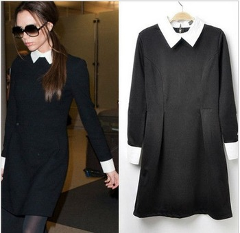 Contrast Collar Long Sleeve Slim Fit Black Dress S M L W3113