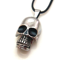 Wholesale Cool Stainless Steel Punk Skull Pendant Necklace For Man men Woman Boys Free shipping