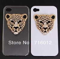 Free shipping!Min.order is $15 kawaii animal crystal leopard head sticker for decorate phone cases 15pcs for woman gift