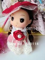 Free Shipping,Wholesale(12pcs/lot)Very Cute Girl With Wedding Dress Vinyl Ddung Doll Mini Ddgirl Phone Hanging Drop 009