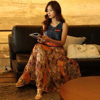 new 2014 women's  full dress bohemia denim patchwork chiffon one-piece dress casual dress fashion women 2014 clothes jeans dress