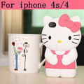Hot selling Hello Kitty Cases for iPhone 4 Pink Kitty Cell Phone Covers for iPhone 4S back cover 3d cartoon,pink,blue,red,yellow