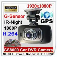 100% original GS8000 Car DVR Recorder with GPS logger Ambarella CPU G-sensor H.264 4 IR light 1920*1080P 30FPS