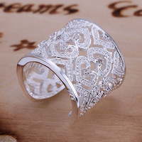 R106 Wholesale! Wholesale 925 silver ring, 925 silver fashion jewelry, Inlaid Multi Heart Ring-Silvery-Opened