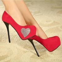 2013 autumn luxury rhinestone sweet love ultra high heels single shoes round toe velvet platform thin heels women's shoesNo.1057
