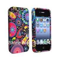 Hot Selling Stylish Lightweight Colorful jellyfish and Circles Style TPU Rubber Skin Case for iPhone 4/4S free shipping