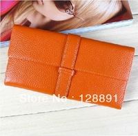 Free Shipping 100% Genuine cowhide Leather women's Long section of the multi-card wallet Retro purse.fashion Clutch Bag