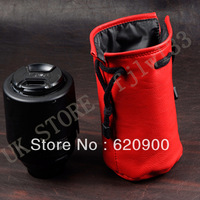 100% GUARANTEE 10 pcs PRO-C4 SOFT LEATHER RED LENS POUCH BAG CASE 18-200 24-105L 100*170mm