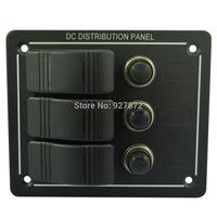 Rocker switch panel SUV/Marine/Boat/Motorhome/Caravan Splashproof Aluminium 3 Gang With LED Circuit Breaker