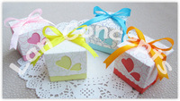 Free shipping DIY Wedding Paper Candy Box Party Favors Packing - pink, blue, yellow & orange each color 120pcs/lot LWB0008B