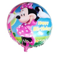 Hot sale!!!Free shipping 100pcs/lot Minnie Mouse balloon 18 inch round shape foil balloon Happy Birthday balloon