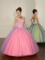 Free Shipping 2013 New Strapless Sleeveless Sequin Beaded Tulle And Satin Custom Made Ball Gown Formal Party Quinceanera Dresses