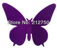 10 Big 10 Mid 20 Small New stereo elegant fashion Purple color butterfly wall sticker 3 Sizes home decor wall art decals