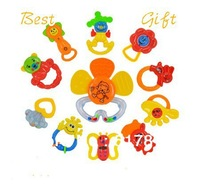 6 large bottle rattles, baby toy 0-1 year old newborn teethers baby hand rattles combination free shipping
