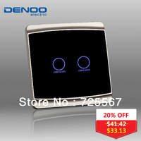Free Shipping 2013 DENOO Brand Luxury Crystal Glass, Knight black 2-gang 1-way wall light touch switch with LED indicator