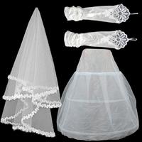 2014 Laciness Bride Veil Elastic Satin Gloves Gauze Piece White Wedding Accessories Petticoats Bolsman Drop Shipping