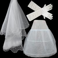 2014 Wedding Accessories Beaded Bridal Wedding Veil Wedding Gloves Additional Petticoats Set Veil Gloves Petticoat Drop Shipping