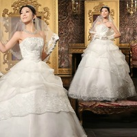 Plus Size Wedding Dress Bride Tube Top Brief 2013 Princess Lace White Wedding Dresses Sweet Elegant Bandage Dress
