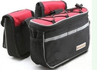 3 IN 1 NEW Multi-function bike bag bicycle front frame tube pannier red Bag with Cover