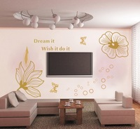 New fashion yellow flowers decals pvc plastic 3d wall stickers mirror free shipping