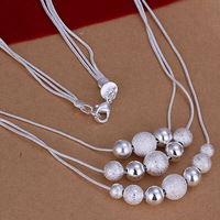 N020 Promotion! free shipping wholesale 925 silver necklace, 925 silver fashion jewelry Multi Beans Necklace