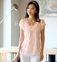 2013 short-sleeve summer ol women's chiffon top fluid shirt female o-neck short t