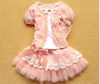 retail 2013 New girl 3pcs clothing set short sleev suit +cotton shirt + bow lace tutu skirt children dress suits high quality
