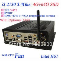 cheap desktop computer with i3 2130 CPU 3.4Ghz windows 7 4G RAM 64G SSD fast speed HDMI DVI VGA dual screen support