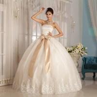 2013 summer wedding dress tube top bandage champagne color wedding dress princess dress
