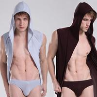 N2 n male bathrobe silky sexy strap with a hood robe sleeveless sleepwear male lounge