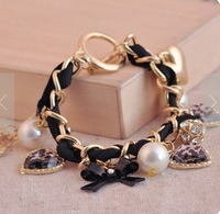 Sunshine jewelry store vintage multi element pearl , bow , leopard bracelet for women s306 (min order $10 mixed order)