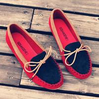 2013 Fashion flat heel single shoes Moccasins bow female pans shoes round toe flat Flats Women 2013 Casual free shipping