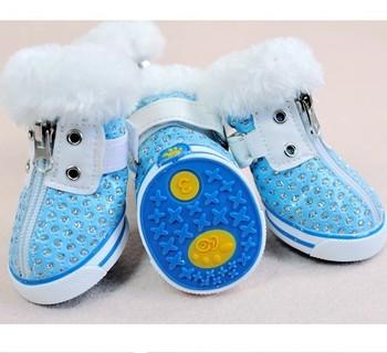 Pet mesh breathable shoes - blue rhinestone dog shoes pet casual comfortable shoes