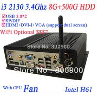 2013 latest homeserver with intel i3 2130 3.4Ghz 8G RAM 500G HDD Intel HD 2000 Grphiac HDMI DVI VGA SP/DIF