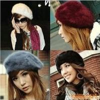 fashion women spring autumn Elegant multi-color rabbit fur beret cap princess hats