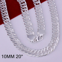 N039 Promotion! free shipping wholesale 925 silver necklace, 925 silver fashion jewelry 10mm Necklace