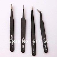 4pcs curved anti-static tweezers repair tool kit for pc//electronics implements