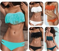 500set/lots Women Tassels Swimwear Padded Boho Fringe Bandeau Top Swimsuit Push Up Bikinis Set 5001