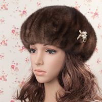 Mink hair winter fashion cap thermal women's fur hat