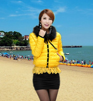 2013 free shipping, hot popular new winter lace detachable fur collar single breasted candy color women's design short down coat
